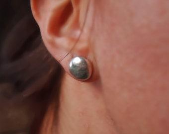 Pebble Earrings, Ear Studs, Fine Silver Earrings, Handmade