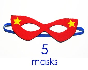 5 felt Superhero Masks party pack for kids - SALE - red blue yellow - Dress Up play costume accessory package - Birthday gift for Boys Girls