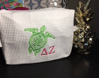 Delta Zeta Waffle weave Cosmetic Case, Officially Licensed, Great Big Little Sister Gift