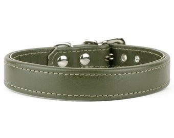 Olive Green Leather Dog Collar