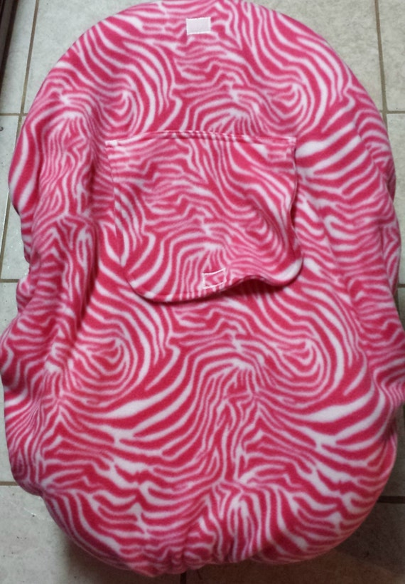 Pink and white Zebra Animal Print Baby Carrier Cozy Cover Up 4