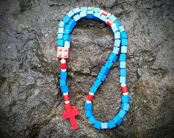 First Communion Gift Rosary Made with LEGO® Bricks - Blue, Red and White