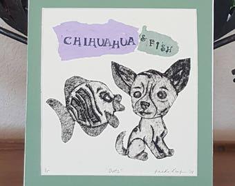 Chihuahua Art Print Whimsical Fish Wall Art Collagraph Prints Printmaker