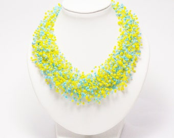 Accessories for yellow wedding jewelry blue yellow multistrand necklace bright jewelry statement necklace costume jewellery layered necklace