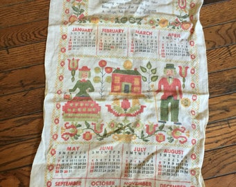 Vintage 1967  Kitchen Towel Calendar Tea