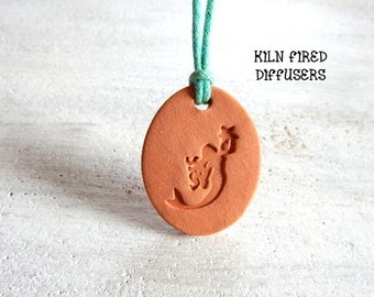 Aromatherapy Personal Essential Oil Diffuser Necklace MERMAID Jewelry Terracotta Clay Diffuser Pendant w cord Natural Organic Anxiety Relief