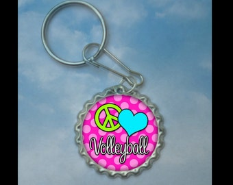 1 Peace Love Volleyball Bottlecap Keychain,GLITTER or Plain, volleyball gifts, volleyball gift, volleyball necklace, team gift medal
