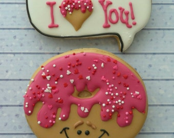 Sprinkled Donut and speech bubble! Donut you know I Love you! One Dozen (12) Perfect for your Valentine!