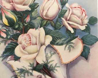 Vintage Wedding Card 1950s NOS Unused Gold Wedding Bands Roses