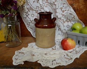 Vintage Stoneware Milk Can Ceramic Brown Tan Decor Jug Jar
