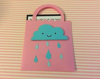 Shopping bag shower of rain baby shower invitation