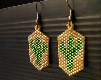 Cactus Earrings Green and Orange