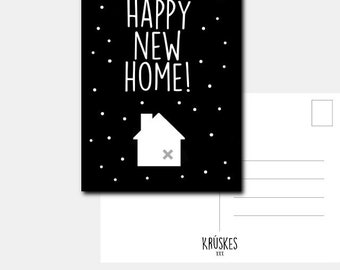 Kruskes map Happy New Home – Black/White – A6