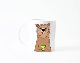 Grizzly bear mug - brown bear coffee cup mug green latte white handmade 11oz drinking cup gift christmas holiday xmas gift present
