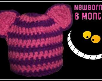 Cheshire Cat Hat or Beanie Newborn to 6 Months