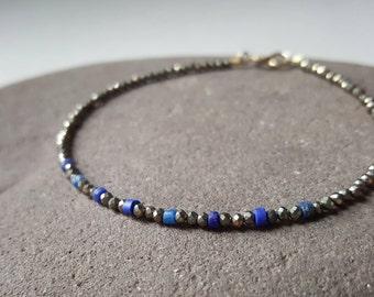 Slim Lapis Lazuli and Pyrite bracelet, delicate gemstone bracelet, blue stone, stacking bracelet, small sparkly bracelet, bronze beads