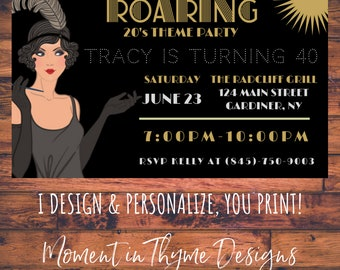 Personalized Roaring 20s 1920s Flapper Gatsby Theme Party Birthday Invite Invitation Digital Printable
