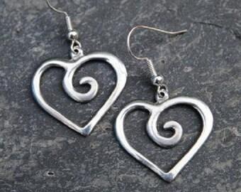 Spiral Heart Pewter Earrings