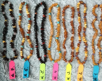 Baltic raw amber teething necklace with other semistone