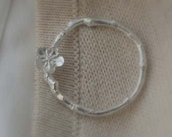 Twig Branch & Flower Circle Sterling Silver Brooch Spring Fashion under 100 Twig Jewelry