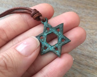Star of David Necklace Leather Mens Gift Bat Mitzvah Necklace Bar Mitzvah Gift Jewish Necklace Star of David Pendant Mens Jewelry Leather