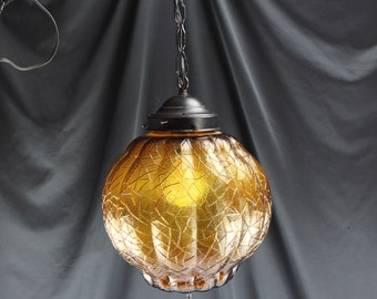 Vintage Mid Century Swag/Hanging Light Amber Globe Shade with Wrought Iron Chain-Lighting Home Decor