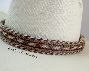 Horsehair hat band, Elegant, Cowboy horsehair hat band, No tassels, natural colors, wider style, horsehair hat band, Western hat band, Rodeo