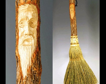 Hand Carved Fireplace Hearth Broom in choice of Natural, Black, Rust or Mixed Broomcorn, with Tree Spirit Wizard Carving, Old Man Face