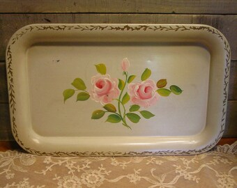 Vintage Rose Tray - Nash Tray - Hand Painted Roses - Shabby and Chic Home Decor - Vanity Tray - Pink Roses