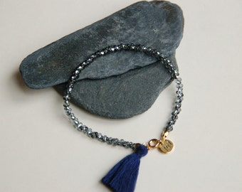 Farfalleperlen bracelet with blue tassel, high-quality gold-plated clasp with logo pendant