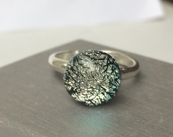 Silver Sparkle Dichroic Fused Glass Round Ring on a Sterling Silver 925 Expandable Ring Band