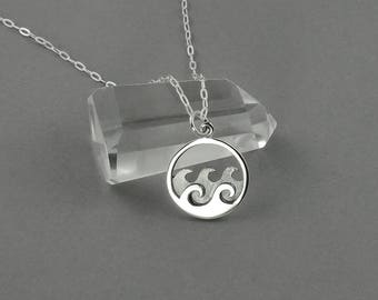 Wave Necklace - 925 Sterling Silver ocean jewelry for women, sea, tropical jewelry, hawaii
