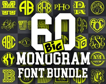 MONOGRAM SVG Monogram Font svg files font Cricut fonts svg Monogram Font Bundle svg DXF Master Circle Silhouette 299