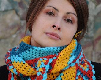 Crochet shawl pattern Crochet wrap pattern Triangle scarf crochet pattern Boho scarf pattern Bandana scarf women Crochet kerchief pattern