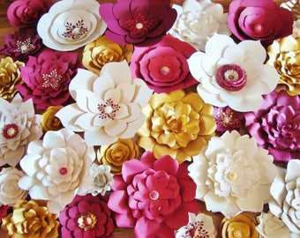 Set of 30 Flowers -  Paper Flowers for Weddings | Paper Flower Wall | Wedding Backdrop | Photo Booth Flower Backdrop | Ceremony Decor