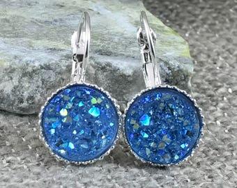 Blue Druzy Earrings - Leverback Earrings - Druzy - Drop Earrings - Bridesmaid Gift - Druzy Jewelry - Blue - Earrings - Drusy - Flower Girl