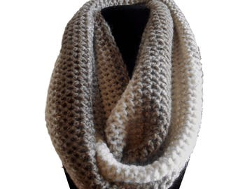 Infinity Scarf Cowl in Taupe and Cream Yellow Handmade by Rosas Accessories FREE SHIPPING In Stock Ready to Ship