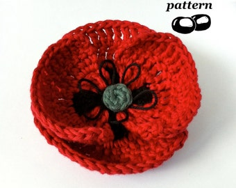Poppy Crochet Pattern / Crochet Field Poppy Pattern / Crochet Flower Pattern
