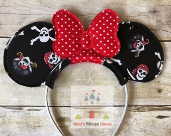 Minnie Mouse Pirate Skull Ears with Red Dot Bow. Ready to Ship. Inspired by Minnie Mouse and Disney Cruise. Pirate Night on a Disney Cruise.