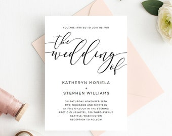 Wedding Invitations Template, Calligraphy Script Wedding Invitations Templates, DIY Wedding Invitations, Simple Elegant Wedding Invitations