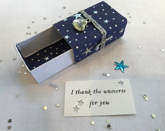 Thank the Universe (Mom) Message Box/Gift Box with fabric gift bag