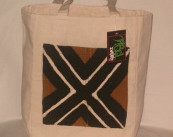 Small Canvas Tote Bag with African mudcloth Pocket