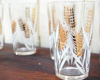 Vintage 1950s/60s White & Gold Wheat Design Tumblers (Set of 6)