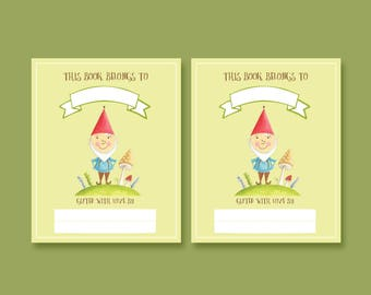 Printable Gnome Book plates - children's printable book plates, instant download