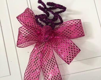 Gift Bow, Pink Purple Bow, Holiday tree bow, Large gift bow, Christmas decoration, Glitter holiday bow, Bow for wreaths, Gift wrap bow, Gift