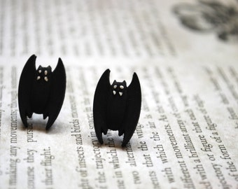 Bat Earrings -- Bat Studs, Black Bats, Halloween, Batman