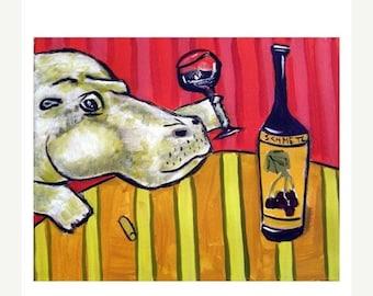 25% off Hippopotamus at the Wine Bar Art Print