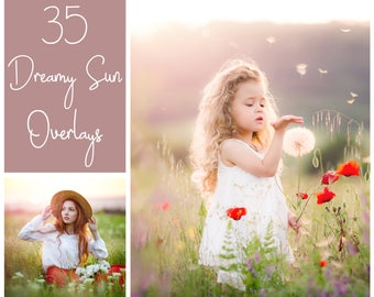 35 Dreamy Spring Sun Overlays  - Sun Light Overlays - Photoshop Overlays - Sunshine Overlays - Dreamy Light PS Overlays - Sun Ball Overlays