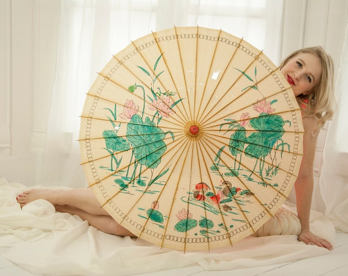 Vintage 1950s paper parasol, ducks white turquoise, lily pads, pond scene, birds animals wood bamboo handle, Asian Japanese 1950s