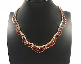 Red and gold jewelry set // vintage jewelry set // vintage crystal jewelry